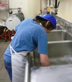 Scrubbing the sink